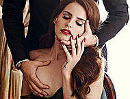 Lana Del Rey gets her right boob touched