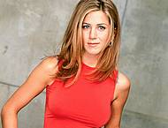 Jennifer Aniston posing in red tanktop
