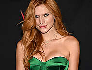 Bella Thorne sexy cleavage in green dress