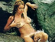 Suzanne Somers posing nude on nature