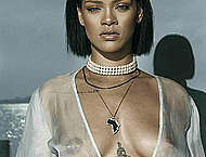 Rihanna in see through dress in Needed Me