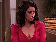 Paget Brewster legs in Two And A Half Men