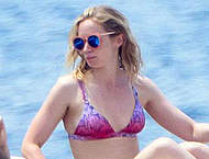 Emily Blunt in bikini on a boat in Italy