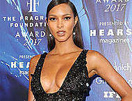 Lais Ribeiro sexy cleavage in night dress