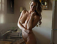Lindsey Lamson topless & fully nude at home
