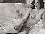 Milla Jovovich fully nude black-and-white pix