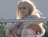Lindsay Lohan boob out and upskirt in Miami